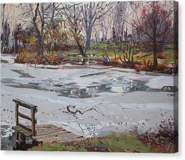 Frozen Pond Canvas Print by Ylli Haruni
