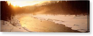 Frozen River, Bc, British Columbia Canvas Print by Panoramic Images