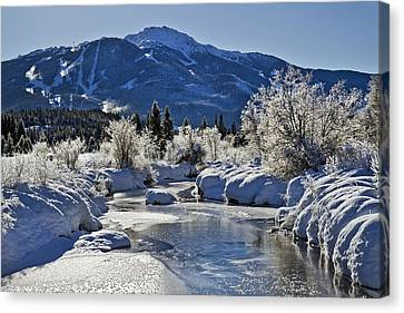 Riviere Canvas Print - Frozen River Of Golden Dreams Whistler by Pierre Leclerc Photography