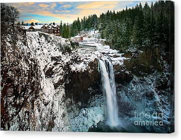 Frozen Snoqualmie Falls Canvas Print by Inge Johnsson