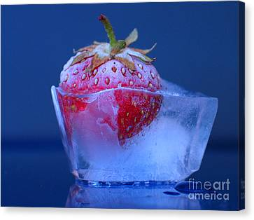 Frozen Strawberry Ice Canvas Print by Art Photography