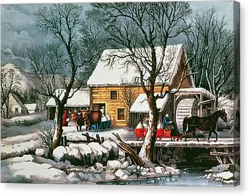 Frozen Up Canvas Print by Currier and Ives