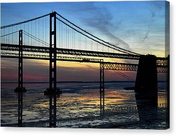 Canvas Print featuring the photograph Frozen Waters Under The Bay Bridge by Bill Swartwout