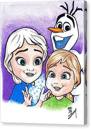 Frozen Young Anna And Young Elsa Canvas Print by Michael Dijamco