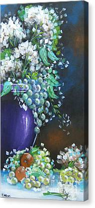 Canvas Print featuring the painting Fruit And Flowers Still Life by Patrice Torrillo