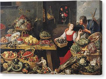 Fruit And Vegetable Market Oil On Canvas Canvas Print by Frans Snyders