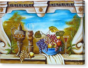 Canvas Print featuring the painting Fruit And Vino by Joseph Sonday