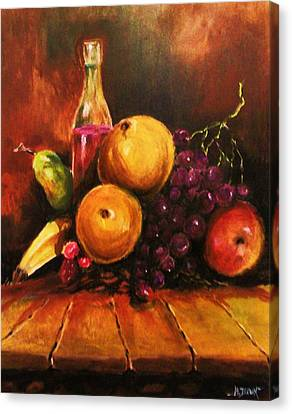Canvas Print featuring the painting Fruit And Wine by Al Brown