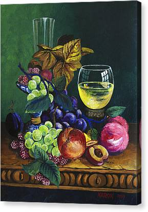 Fruit And Wine Canvas Print by Karon Melillo DeVega