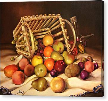Still Life Of Wine And Grapes Canvas Print - Fruit Basket With Porron by Niky Parks