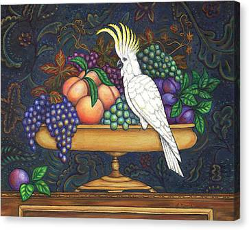 Fruit Bowl And Cockatoo Canvas Print by Linda Mears