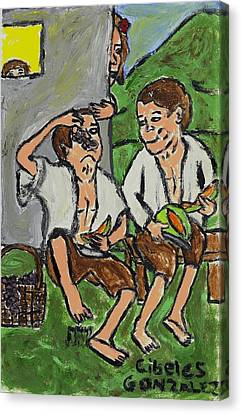 Fruit Eating Boys In Seville Canvas Print by Cibeles Gonzalez