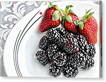 Fruit I - Strawberries - Blackberries Canvas Print by Barbara Griffin