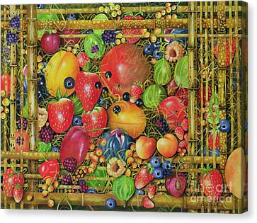 Fruit In Bamboo Box Canvas Print by EB Watts