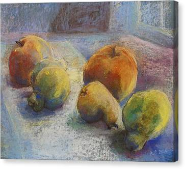 Fruit In Moonlight Canvas Print by Barbara Pommerenke
