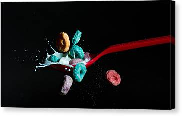 Canvas Print featuring the photograph Fruit Loops And Milk Collision by John Hoey