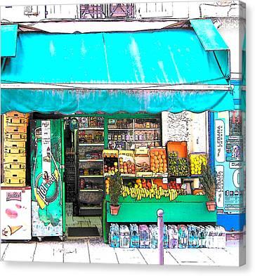Fruit Market In Paris Canvas Print by Jan Matson