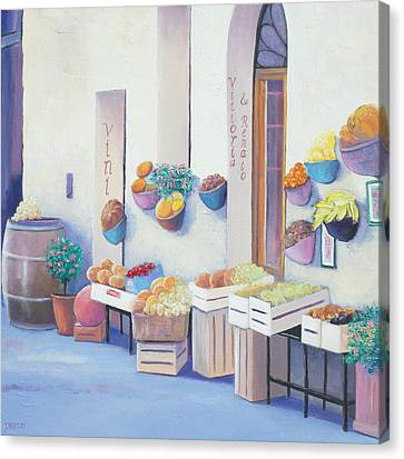 Fruit Market In Tuscany Canvas Print by Jan Matson
