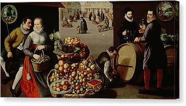 Fruit Market Canvas Print by Lucas van Valckenborch