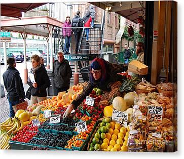 Fruit Market Vendor Canvas Print