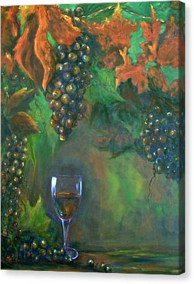 Still Life Of Wine And Grapes Canvas Print - Fruit Of The Vine by Sandra Cutrer