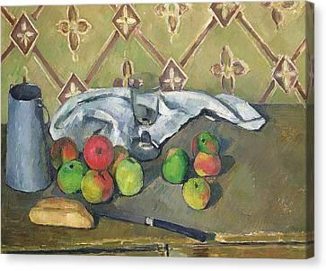 Fruit Serviette And Milk Jug Canvas Print by Paul Cezanne