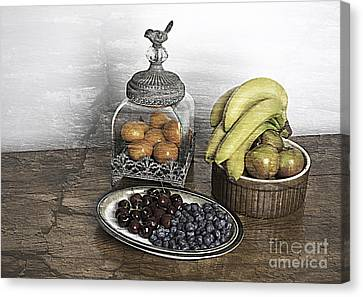 Fruit Still Life Canvas Print by Lesley Rigg