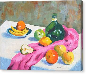 Canvas Print featuring the painting Fruit Still Life by Val Miller