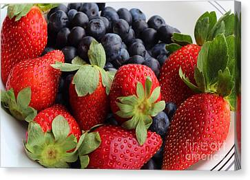 Fruit - Strawberries - Blueberries Canvas Print by Barbara Griffin