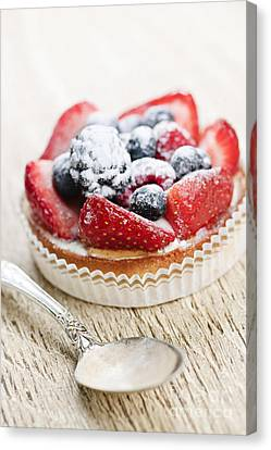 Fruit Tart With Spoon Canvas Print by Elena Elisseeva