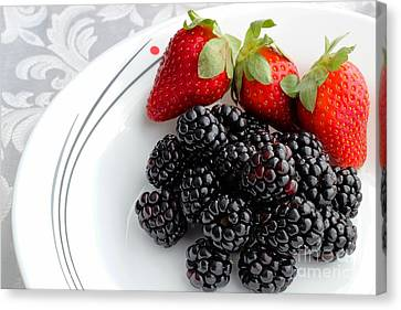 Fruit V - Strawberries - Blackberries Canvas Print by Barbara Griffin