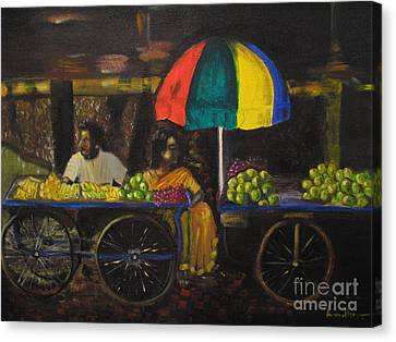 Canvas Print featuring the painting Fruit Vendors by Brindha Naveen
