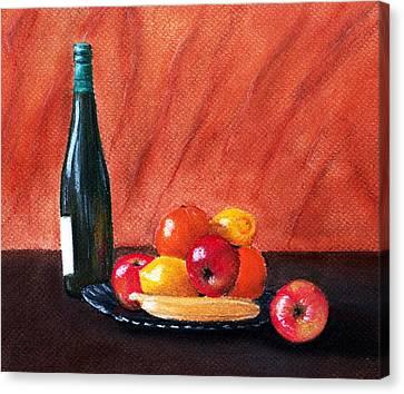 Fruits And Wine Canvas Print by Anastasiya Malakhova