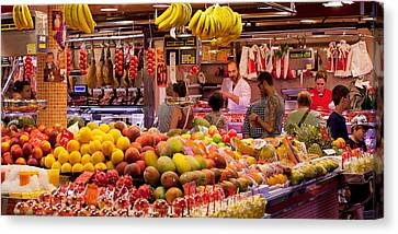 Fruits At Market Stalls, La Boqueria Canvas Print by Panoramic Images
