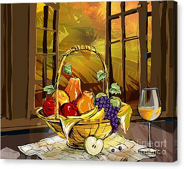 Peaches Canvas Print - Fruits Basket by Peter Awax