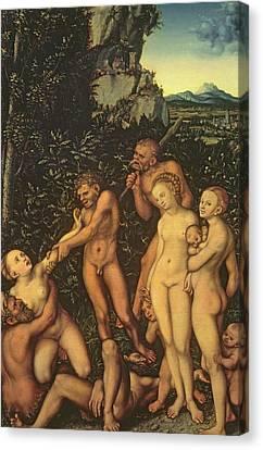 Fruits Of Jealousy Canvas Print by Lucas the elder Cranach