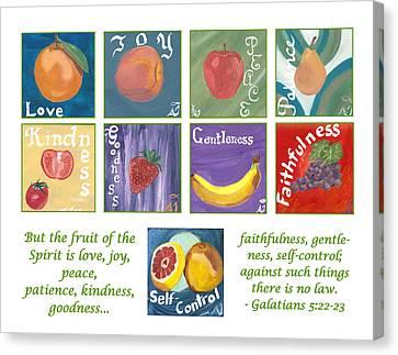 Fruits Of The Holy Spirit - White Background Canvas Print by Amber Joy Eifler