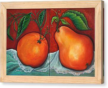 Canvas Print featuring the painting Fruits Pears by Yolanda Rodriguez