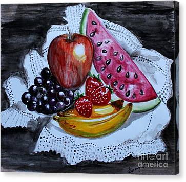 Canvas Print featuring the painting Fruits  by Saranya Haridasan