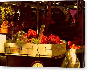 Fruitstand With Pineapples Canvas Print by Miriam Danar