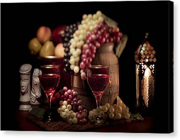 Candle Lit Canvas Print - Fruity Wine Still Life by Tom Mc Nemar