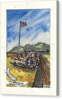 Canvas Print featuring the mixed media Ft. Barrancas Cannon by Tim Oliver