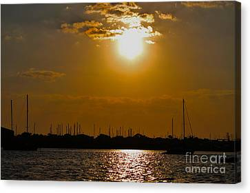 Canvas Print featuring the photograph Ft. Pierce Florida Docks At Dusk by Janice Rae Pariza