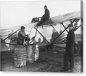 Fueling The Splitdorf Canvas Print by Underwood Archives