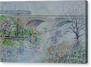 Canvas Print featuring the painting Fuerth Seven Arch Bridge Siebenbogenbruecke  by Alfred Motzer