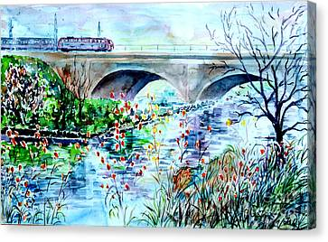 Canvas Print featuring the painting Fuerth Seven Arches Bridge by Alfred Motzer