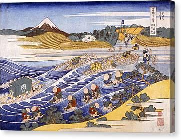 Fuji From The Ford At Kanaya Canvas Print by Katsushika Hokusai