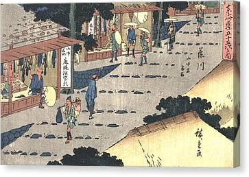 Fujikawa Station Tokaido Road 1838 Canvas Print by Padre Art