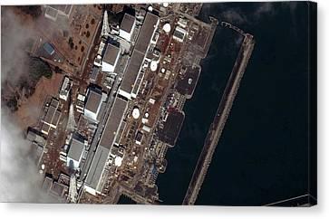 Fukushima Canvas Print - Fukushima Nuclear Power Plant by Digital Globe