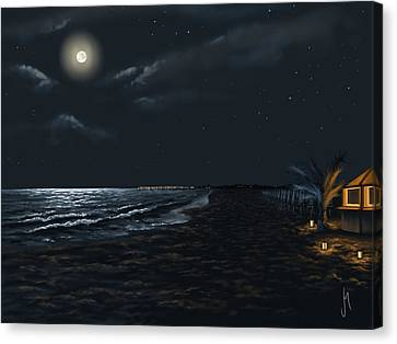 Full Moon Above The Mediterranean Sea Canvas Print